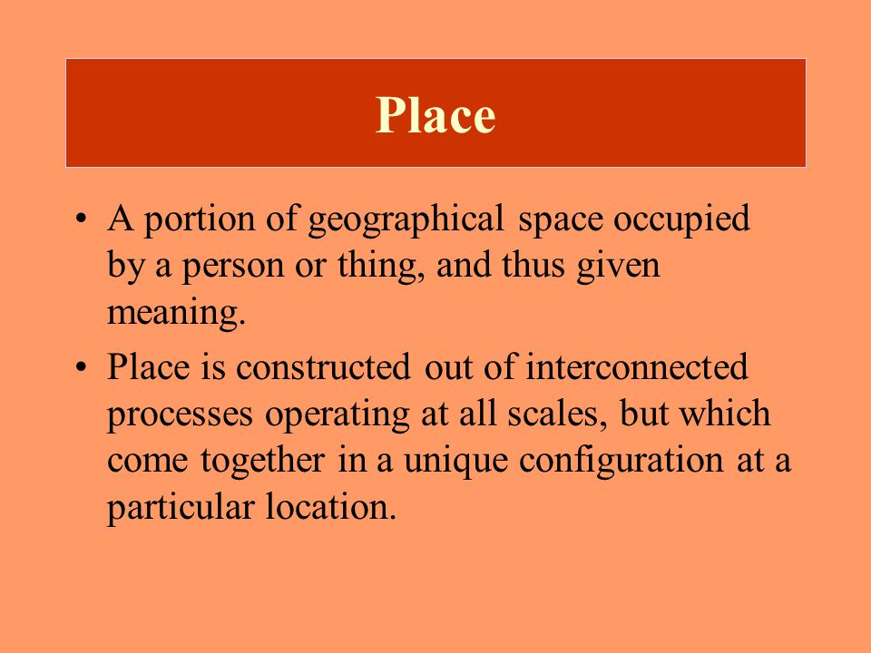 Space Absolute or abstract space: space as a container Social or relative space: space produced through social interaction.