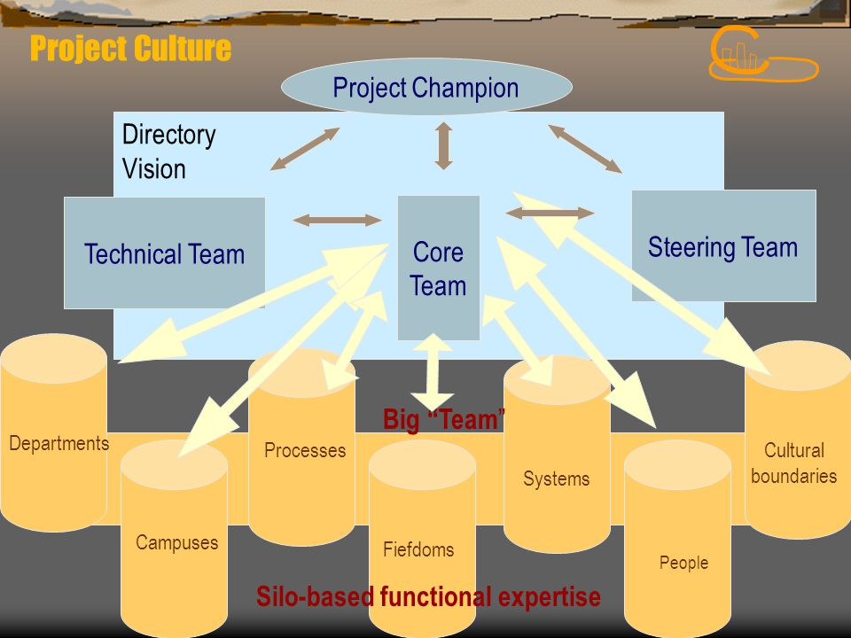 "Directory Vision Silo-based functional expertise Big ""Team "" Departments Systems People Processes Campuses Cultural boundaries Fiefdoms Technical Team"