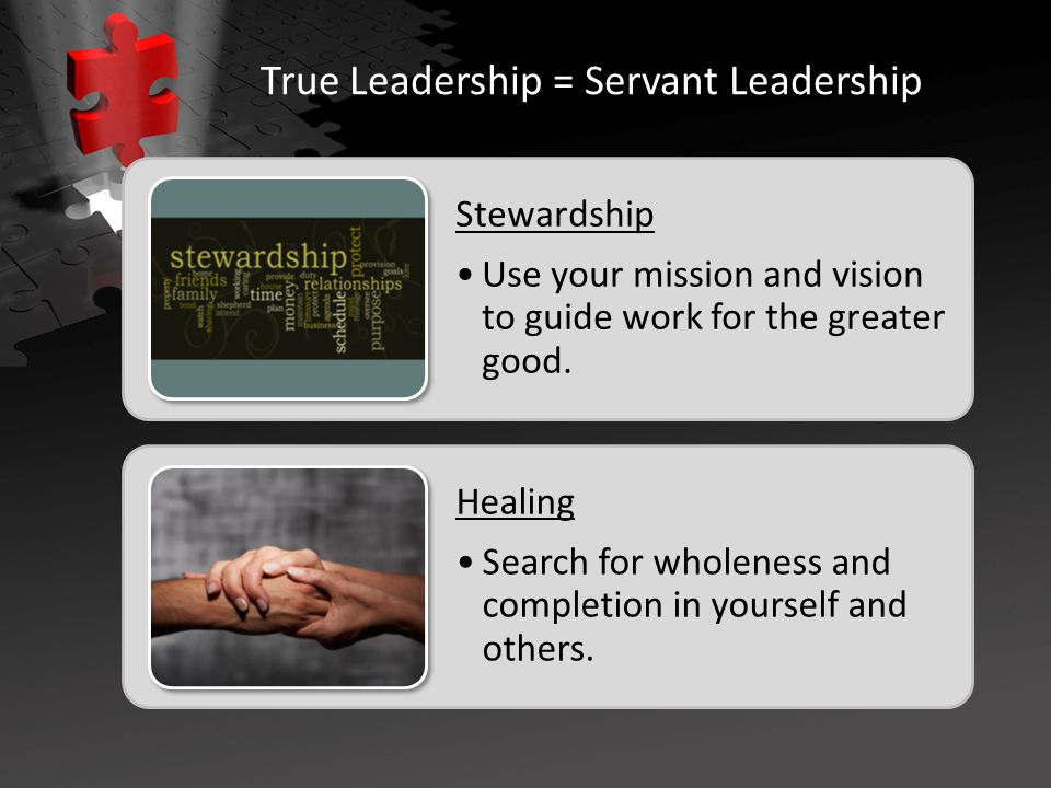 Stewardship Use your mission and vision to guide work for the greater good.