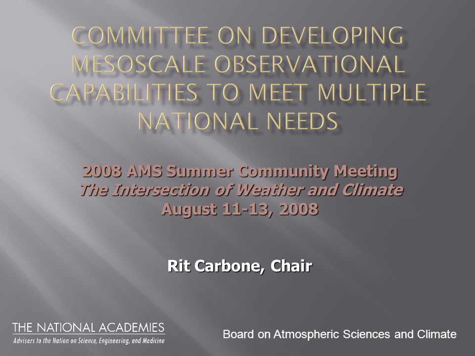 Board on Atmospheric Sciences and Climate 2008 AMS Summer Community Meeting The Intersection of Weather and Climate August 11-13, 2008 Rit Carbone, Chair