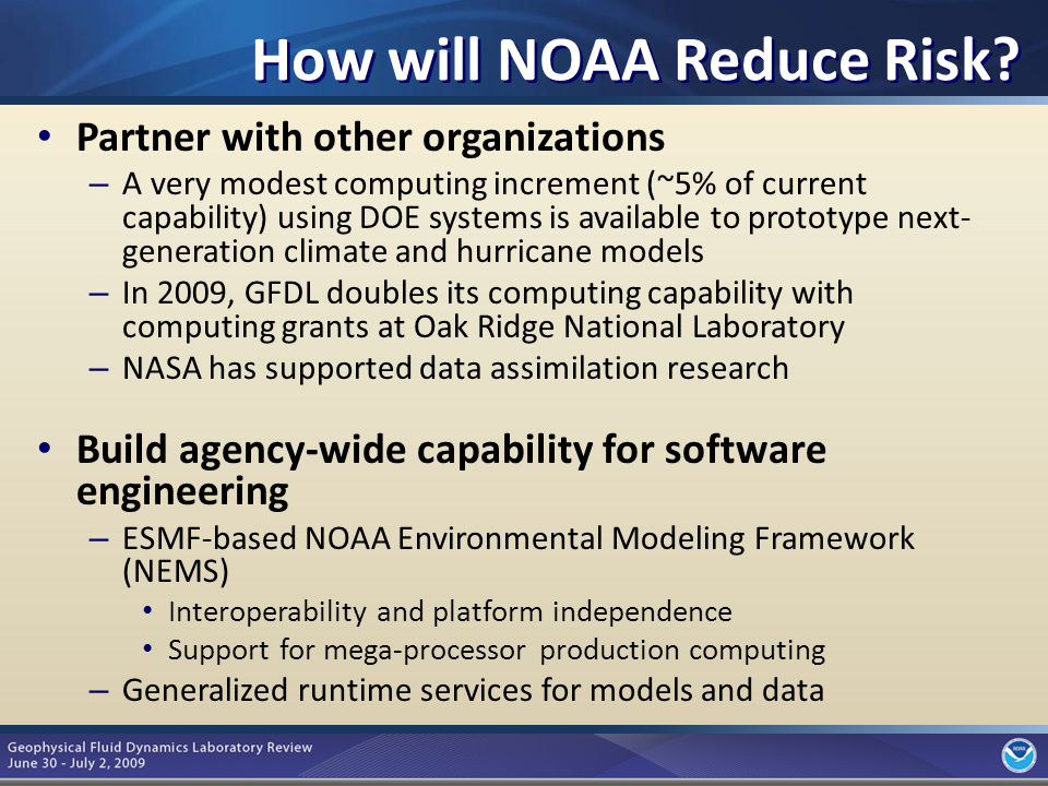 8 Summary NOAA has moved from organization-based acquisition, management, and operation of HPC to an agency-wide approach NOAA's future HPC architecture reflects its environmental mission and consolidates large-scale R&D computing to permit the largest possible jobs to execute Current partnerships reduce the risk in moving to this new architecture while promoting ground-breaking climate simulations with new models