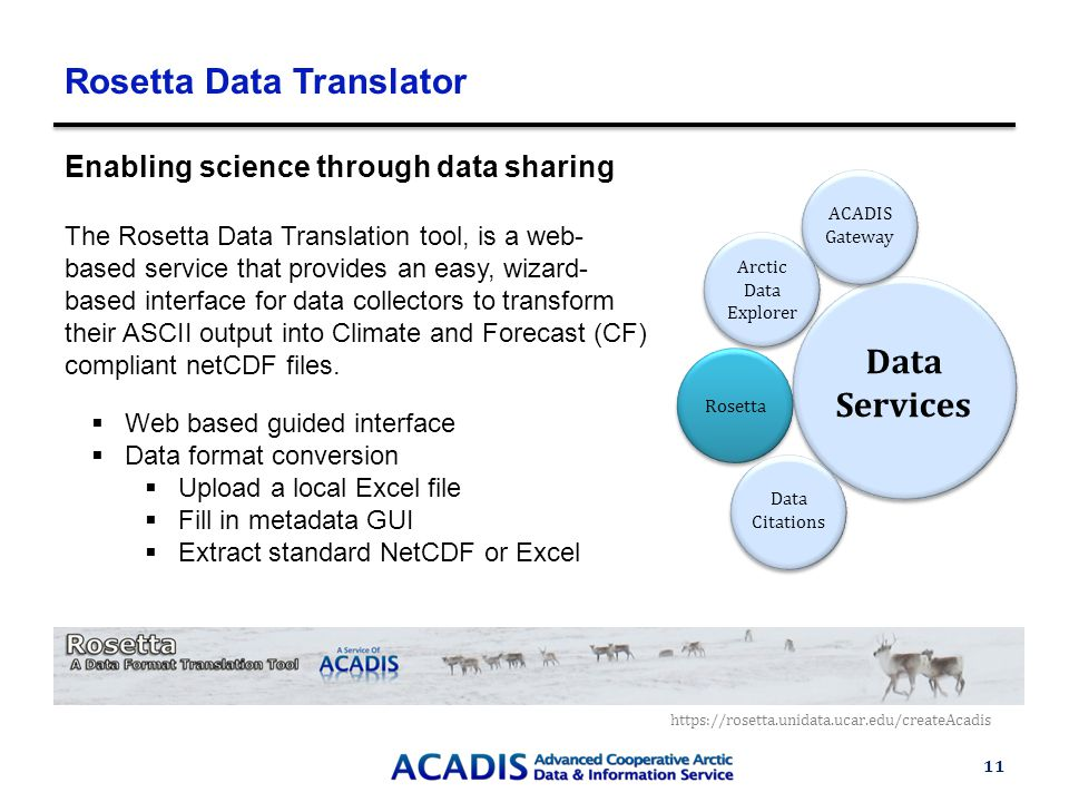 Rosetta Data Translator 11 Enabling science through data sharing The Rosetta Data Translation tool, is a web- based service that provides an easy, wizard- based interface for data collectors to transform their ASCII output into Climate and Forecast (CF) compliant netCDF files.
