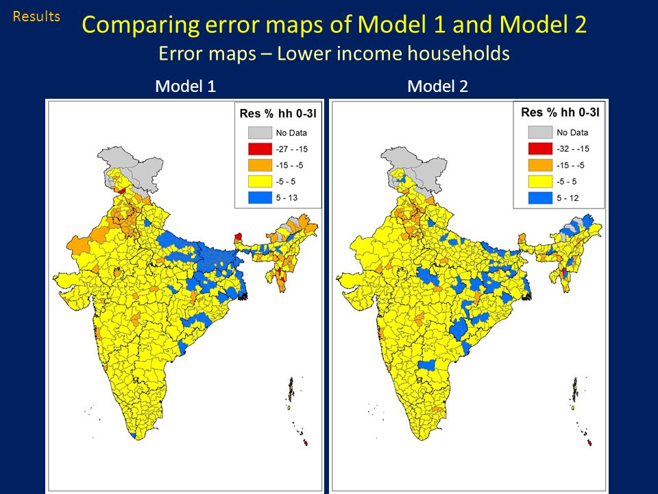 Comparing error maps of Model 1 and Model 2 Error maps – Lower income households Results Model 1Model 2