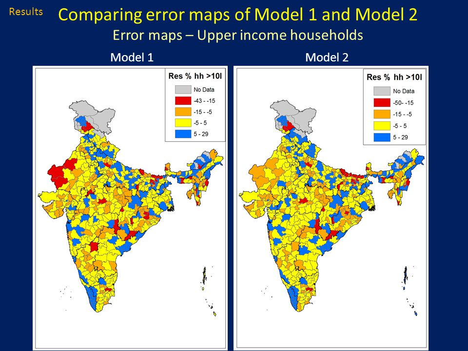 Results Comparing error maps of Model 1 and Model 2 Error maps – Upper income households Model 1Model 2
