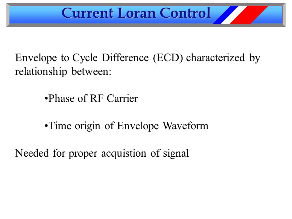 Current Loran Control Envelope to Cycle Difference (ECD) characterized by relationship between: Phase of RF Carrier Time origin of Envelope Waveform Needed for proper acquistion of signal