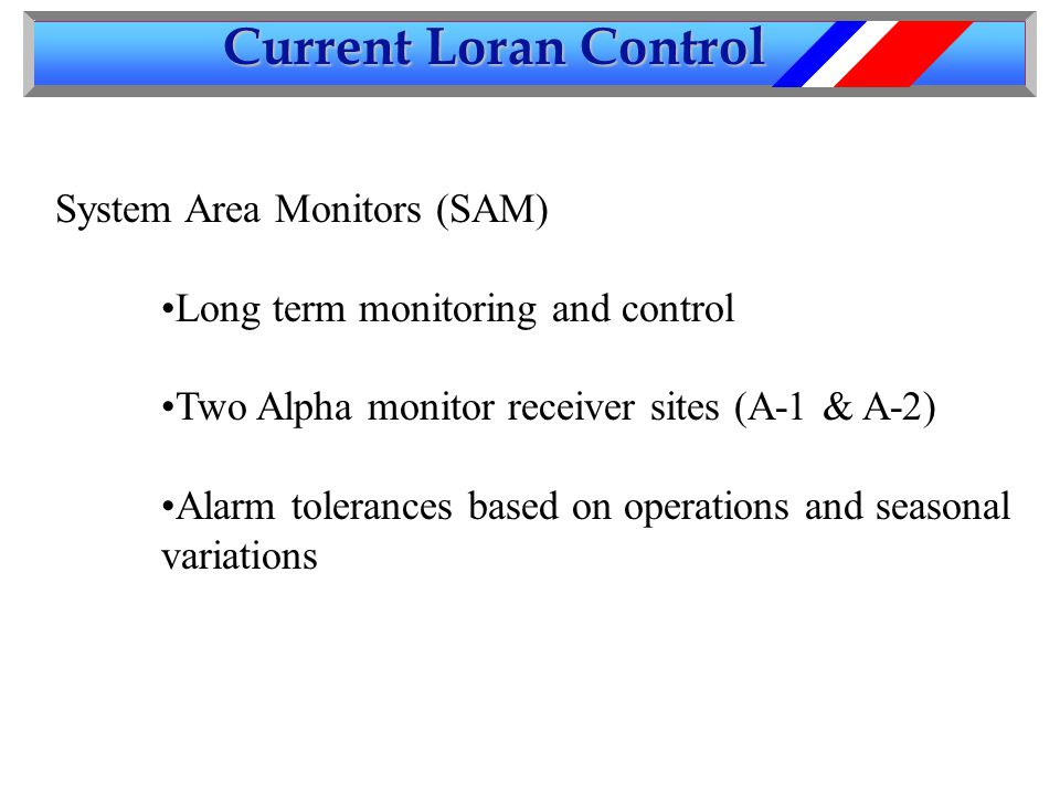 Current Loran Control System Area Monitors (SAM) Long term monitoring and control Two Alpha monitor receiver sites (A-1 & A-2) Alarm tolerances based on operations and seasonal variations