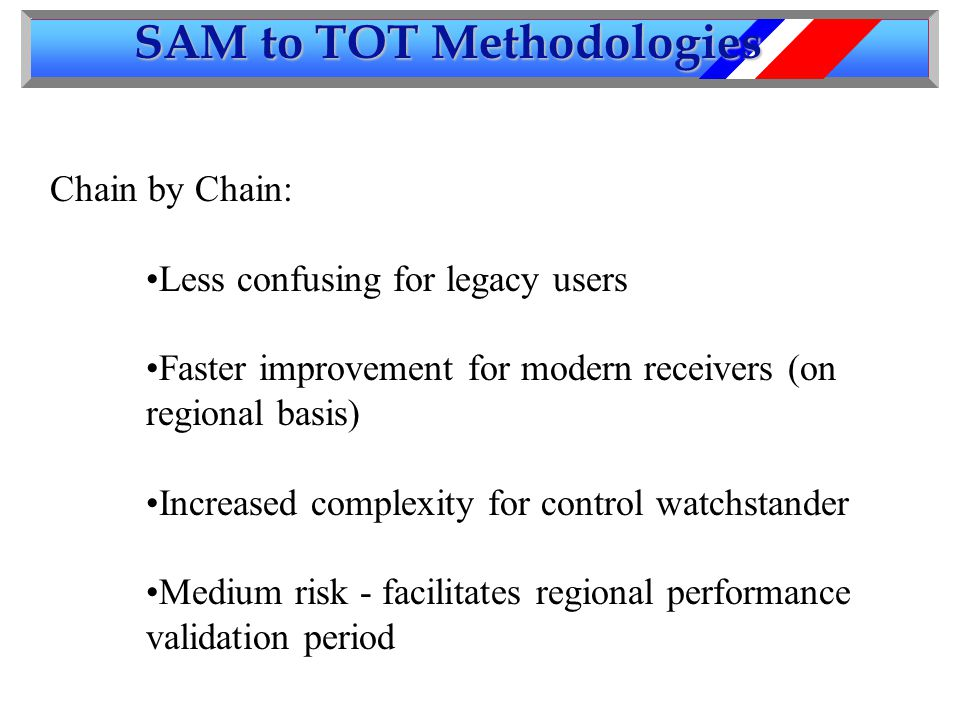 SAM to TOT Methodologies Chain by Chain: Less confusing for legacy users Faster improvement for modern receivers (on regional basis) Increased complexity for control watchstander Medium risk - facilitates regional performance validation period
