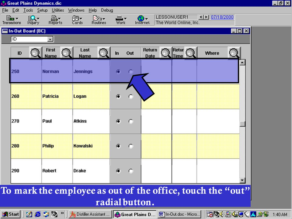 Once the desired employee has been found, his status will be displayed.