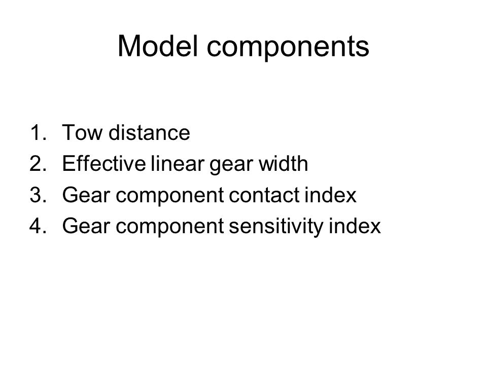 Model components 1.Tow distance 2.Effective linear gear width 3.Gear component contact index 4.Gear component sensitivity index