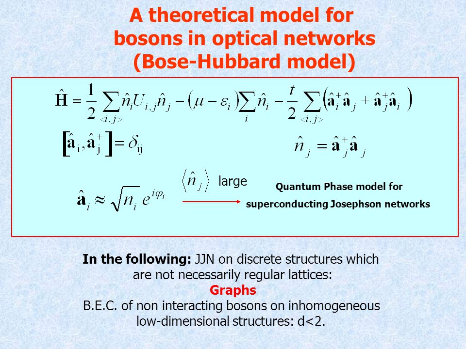 A theoretical model for bosons in optical networks (Bose-Hubbard model) large Quantum Phase model for superconducting Josephson networks In the following: JJN on discrete structures which are not necessarily regular lattices: Graphs B.E.C.