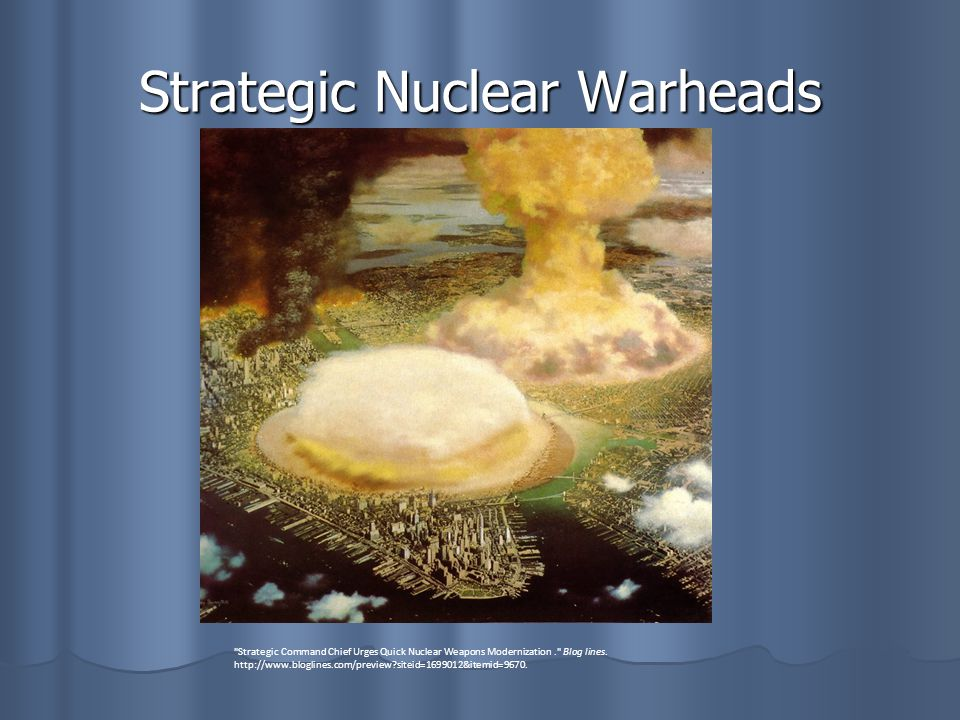 Strategic Nuclear Warheads Strategic Command Chief Urges Quick Nuclear Weapons Modernization. Blog lines.