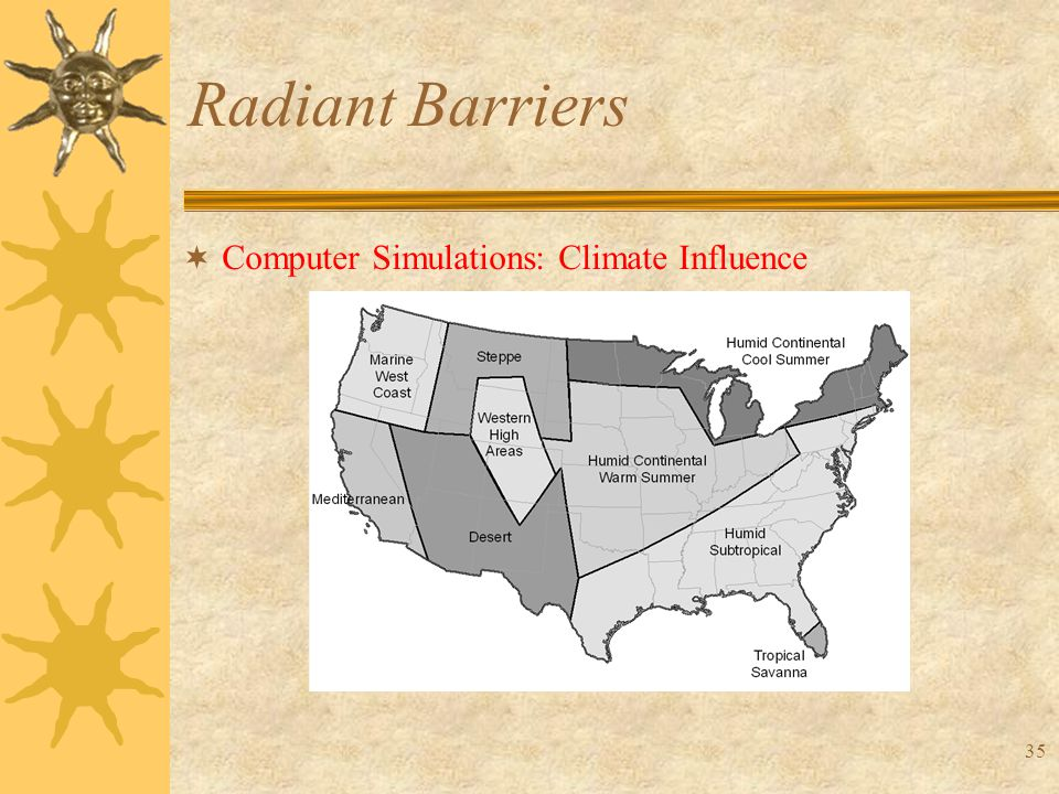 35 Radiant Barriers  Computer Simulations: Climate Influence