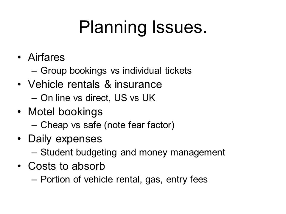 Planning Issues.