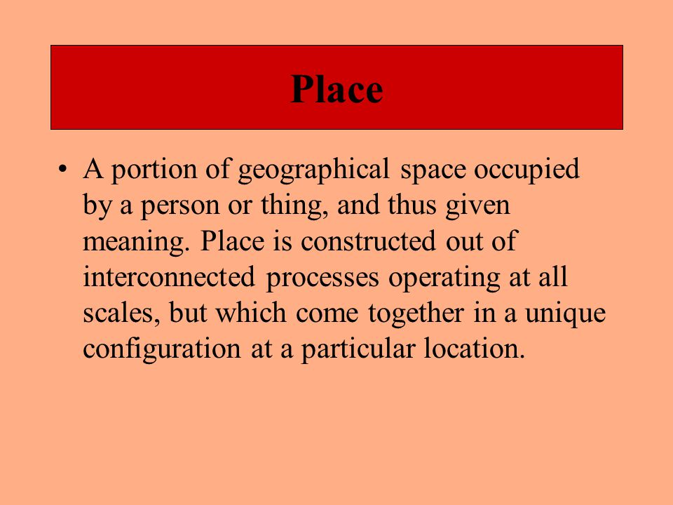 Space Literally area , but two meanings are more prevalent in Geography.