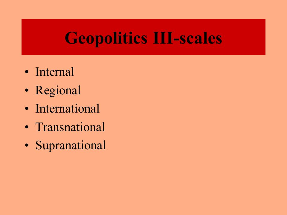 Geopolitics II Nation: A people bound together by a shared sense history and culture and rooted in a particular territory.