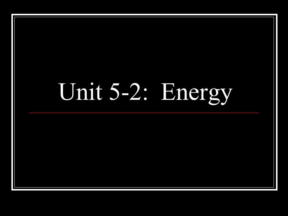 Unit 5-2: Energy