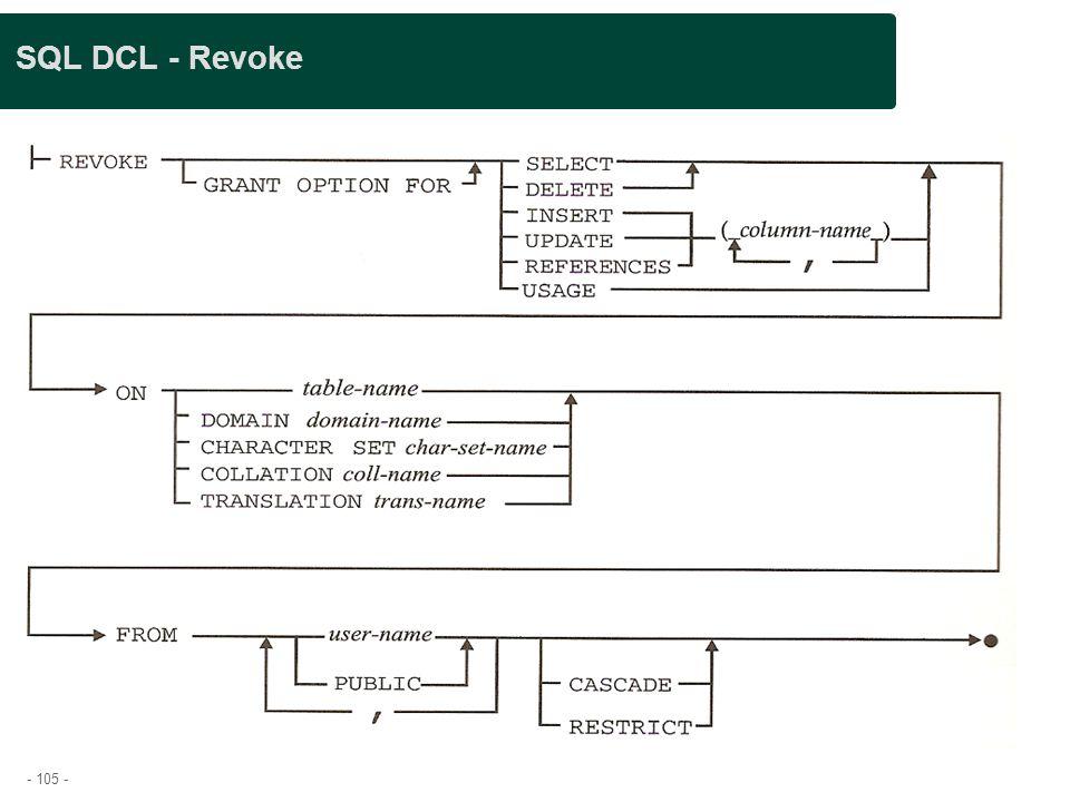 - 105 - SQL DCL - Revoke
