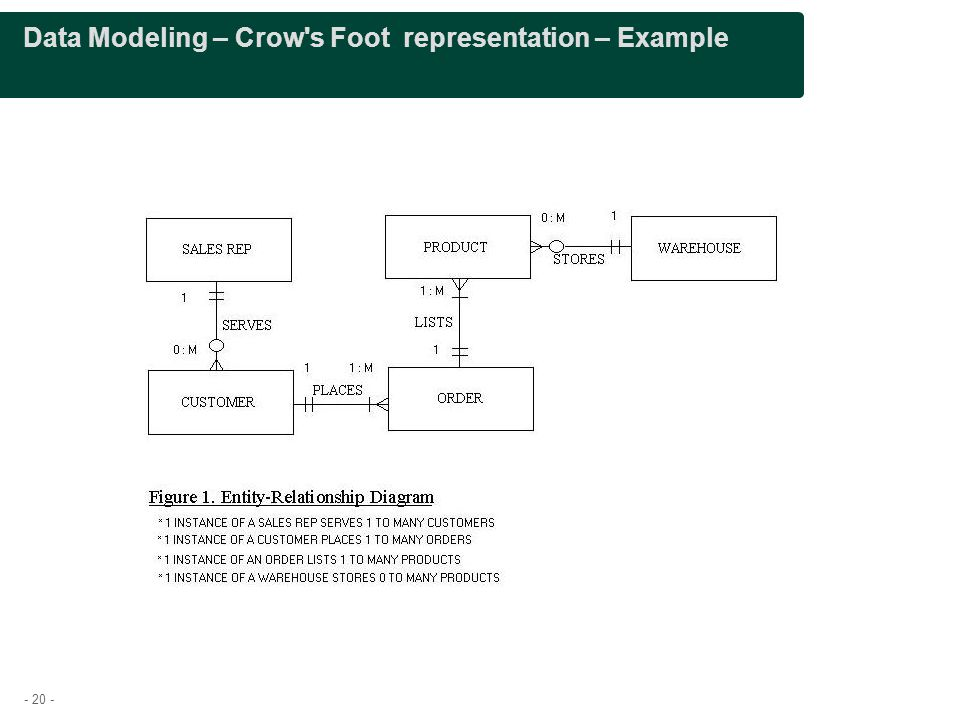 - 20 - Data Modeling – Crow s Foot representation – Example