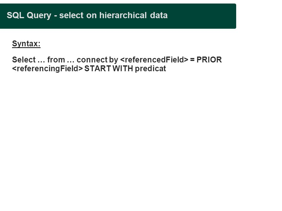 SQL Query - select on hierarchical data Syntax: Select … from … connect by = PRIOR START WITH predicat