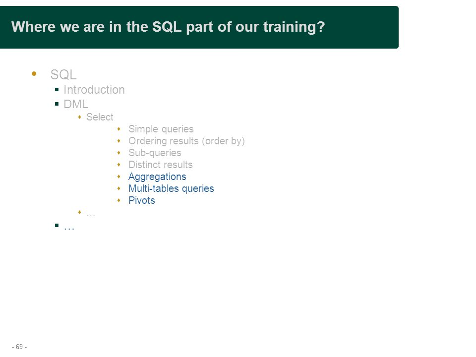 - 69 - Where we are in the SQL part of our training.