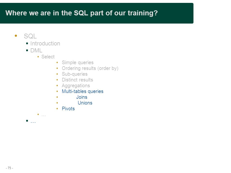 - 75 - Where we are in the SQL part of our training.