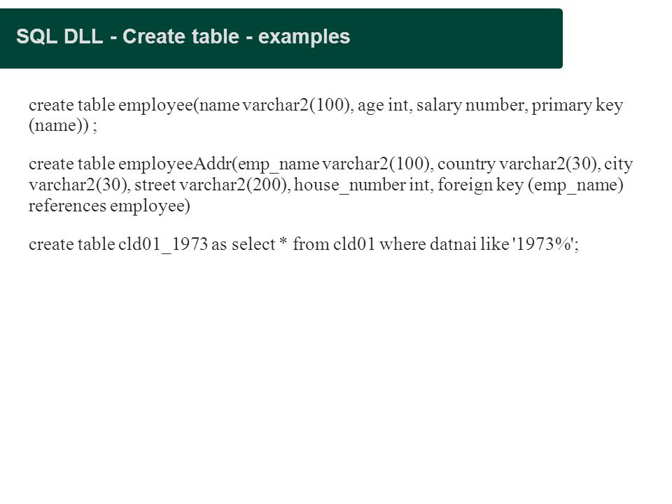 SQL DLL - Create table - examples create table employee(name varchar2(100), age int, salary number, primary key (name)) ; create table employeeAddr(emp_name varchar2(100), country varchar2(30), city varchar2(30), street varchar2(200), house_number int, foreign key (emp_name) references employee) create table cld01_1973 as select * from cld01 where datnai like 1973% ;