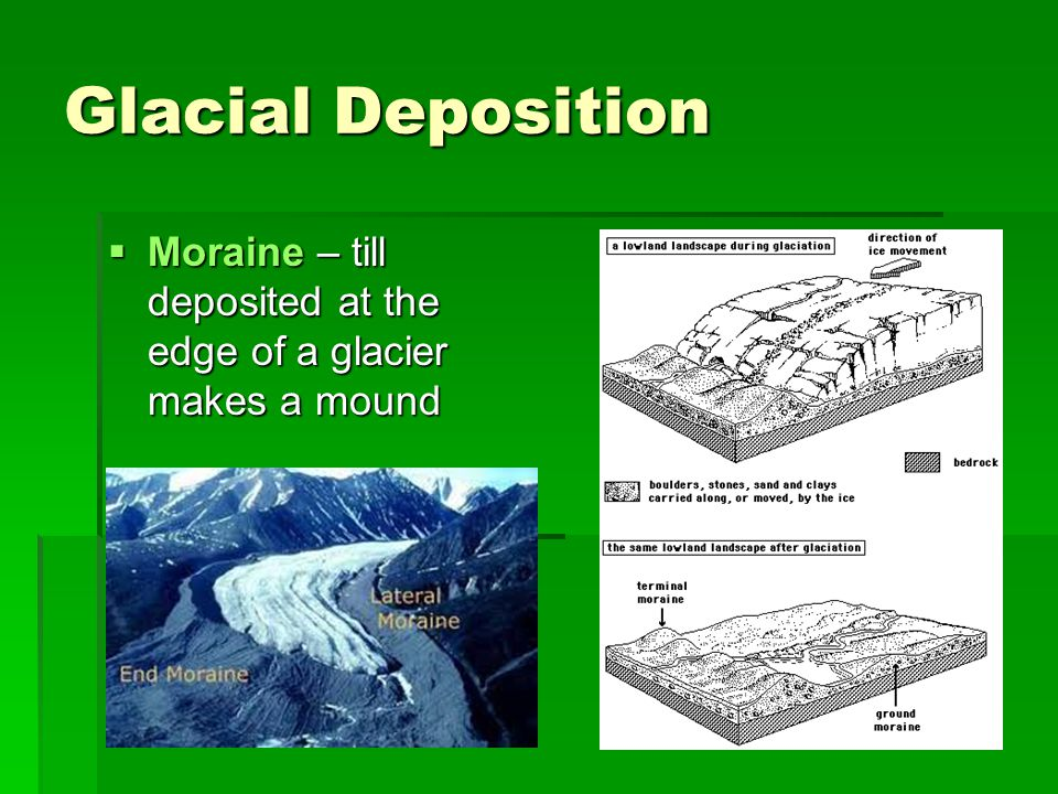 Glacial Deposition  Moraine – till deposited at the edge of a glacier makes a mound