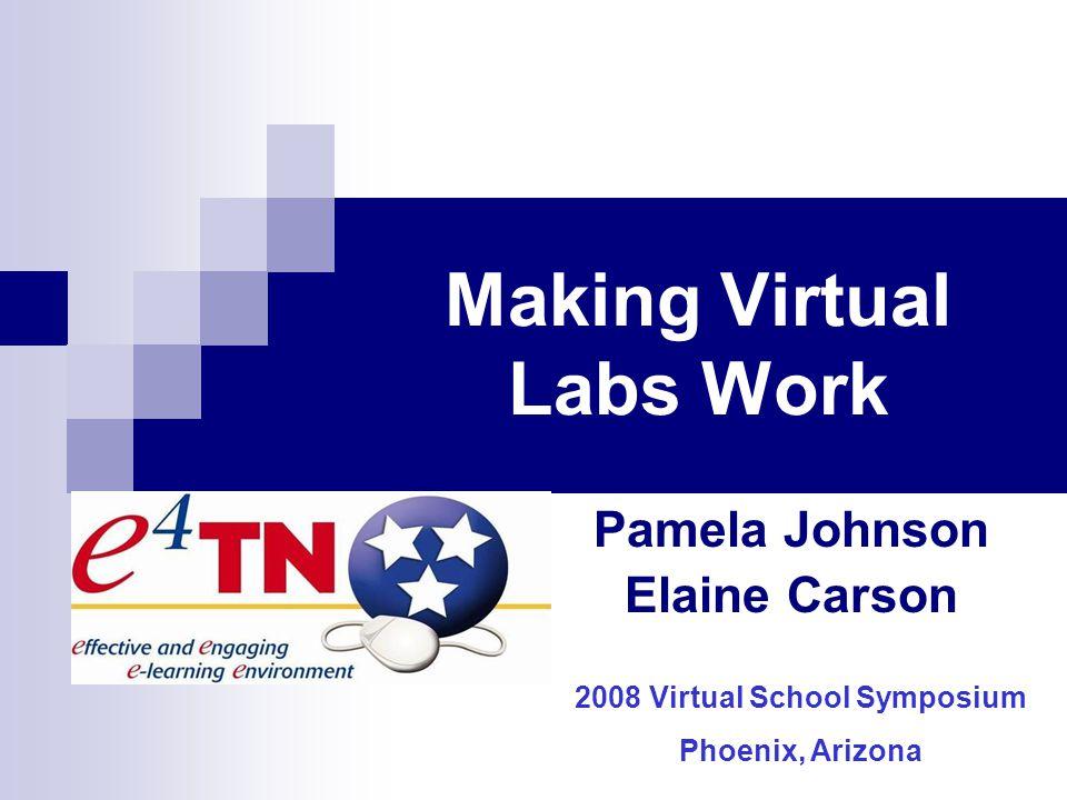 Making Virtual Labs Work Pamela Johnson Elaine Carson 2008 Virtual School Symposium Phoenix, Arizona
