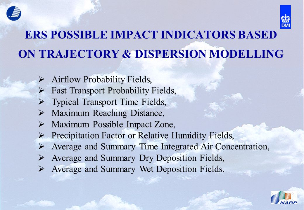 ERS POSSIBLE IMPACT INDICATORS BASED ON TRAJECTORY & DISPERSION MODELLING  Airflow Probability Fields,  Fast Transport Probability Fields,  Typical Transport Time Fields,  Maximum Reaching Distance,  Maximum Possible Impact Zone,  Precipitation Factor or Relative Humidity Fields,  Average and Summary Time Integrated Air Concentration,  Average and Summary Dry Deposition Fields,  Average and Summary Wet Deposition Fields.
