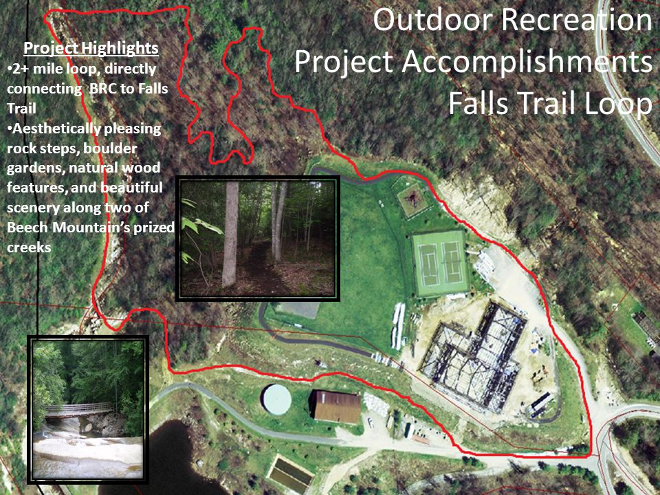 Outdoor Recreation Project Accomplishments Falls Trail Loop Project Highlights 2+ mile loop, directly connecting BRC to Falls Trail Aesthetically plea