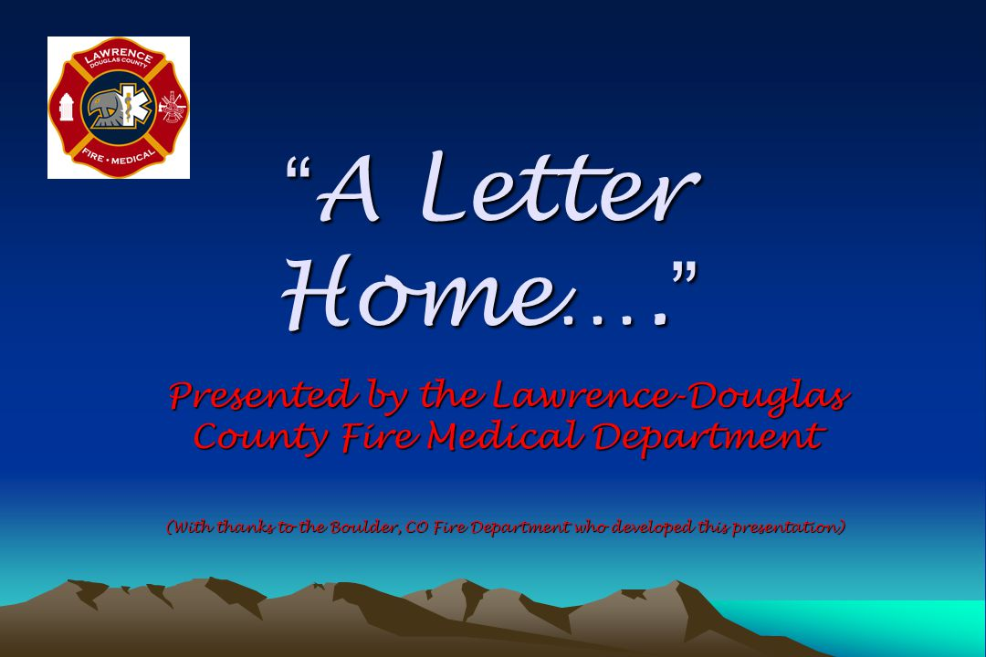 A Letter Home….