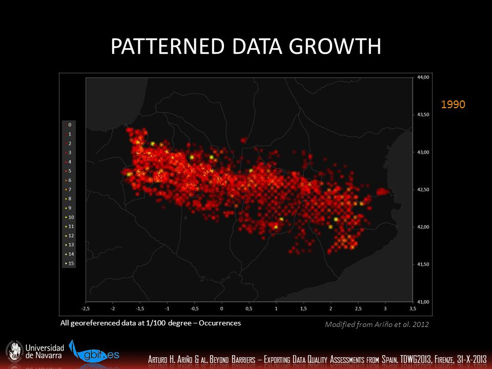 PATTERNED DATA GROWTH All georeferenced data at 1/100 degree – Occurrences 1990 Modified from Ariño et al.