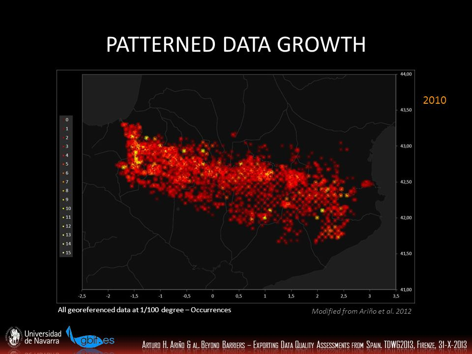 PATTERNED DATA GROWTH All georeferenced data at 1/100 degree – Occurrences 2010 Modified from Ariño et al.