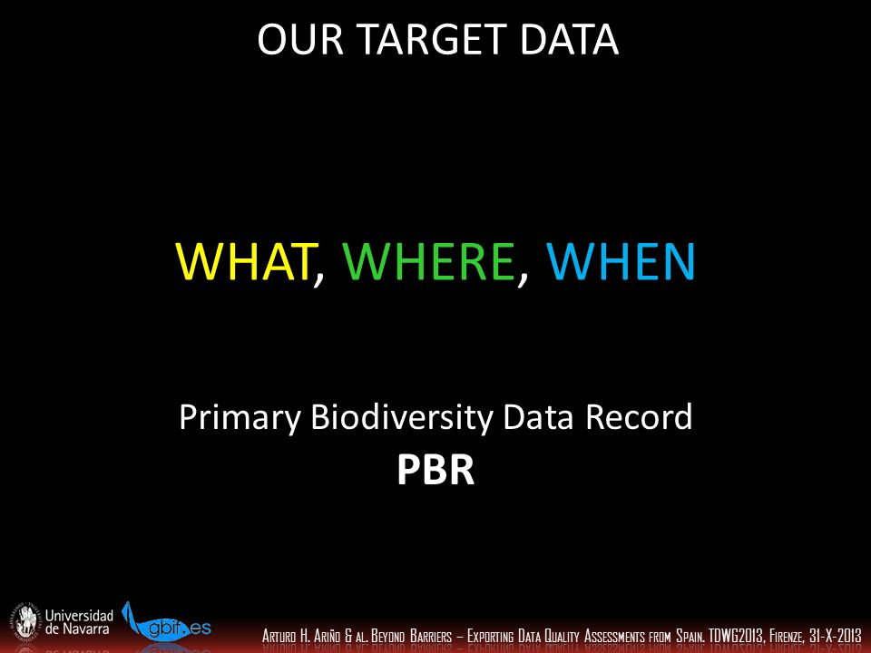 WHAT, WHERE, WHEN OUR TARGET DATA Primary Biodiversity Data Record PBR