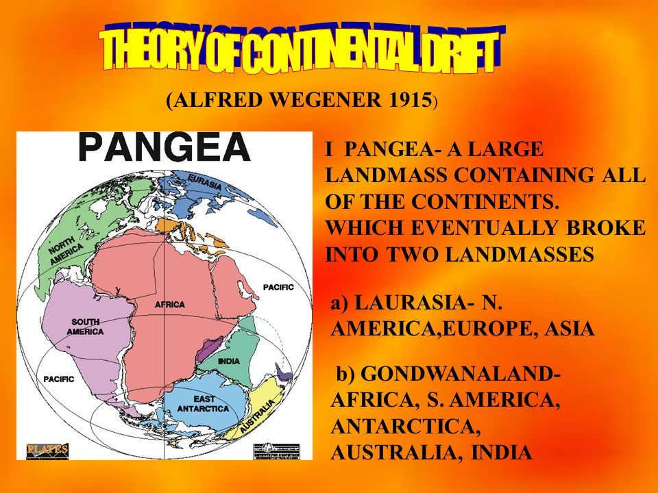 (ALFRED WEGENER 1915 ) I PANGEA- A LARGE LANDMASS CONTAINING ALL OF THE CONTINENTS.