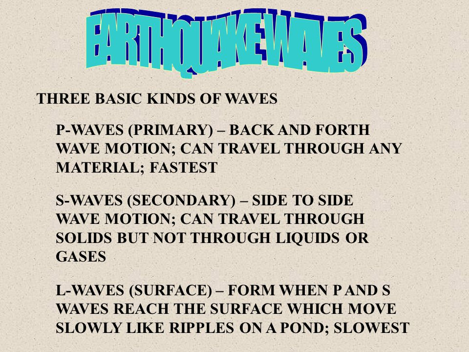 THREE BASIC KINDS OF WAVES P-WAVES (PRIMARY) – BACK AND FORTH WAVE MOTION; CAN TRAVEL THROUGH ANY MATERIAL; FASTEST S-WAVES (SECONDARY) – SIDE TO SIDE WAVE MOTION; CAN TRAVEL THROUGH SOLIDS BUT NOT THROUGH LIQUIDS OR GASES L-WAVES (SURFACE) – FORM WHEN P AND S WAVES REACH THE SURFACE WHICH MOVE SLOWLY LIKE RIPPLES ON A POND; SLOWEST
