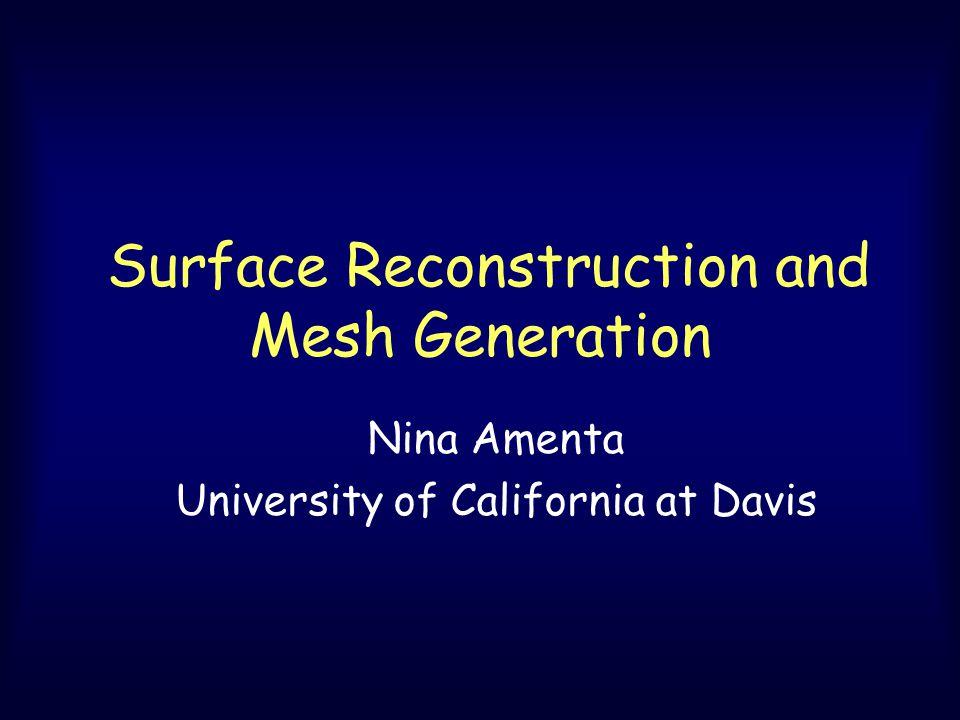 Surface Reconstruction and Mesh Generation Nina Amenta University of California at Davis