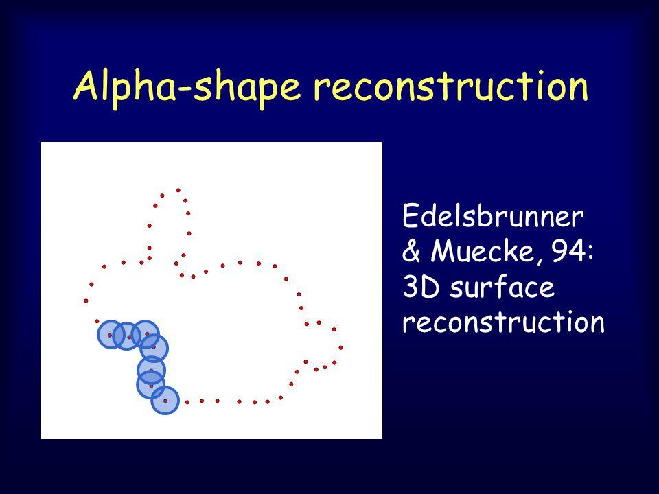 Alpha-shape reconstruction Edelsbrunner & Muecke, 94: 3D surface reconstruction