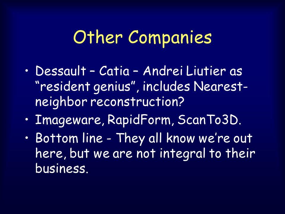 Other Companies Dessault – Catia – Andrei Liutier as resident genius , includes Nearest- neighbor reconstruction.