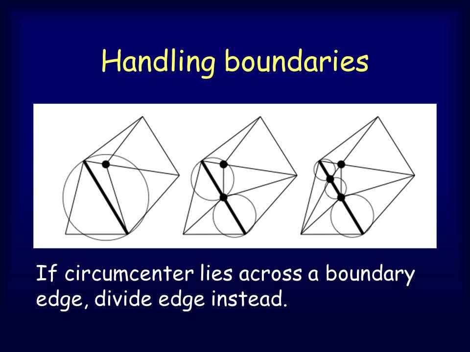 Handling boundaries If circumcenter lies across a boundary edge, divide edge instead.