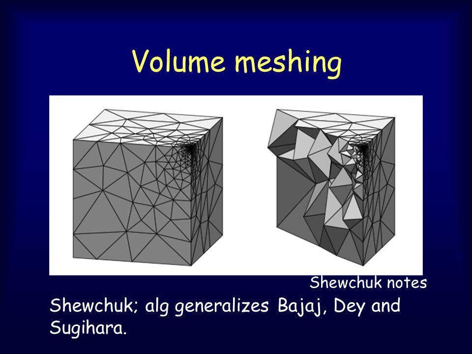 Volume meshing Shewchuk; alg generalizes Bajaj, Dey and Sugihara. Shewchuk notes