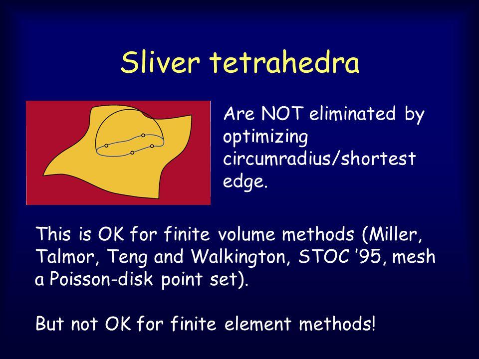 Sliver tetrahedra Are NOT eliminated by optimizing circumradius/shortest edge.