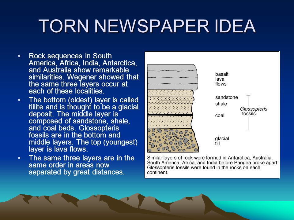TORN NEWSPAPER IDEA Rock sequences in South America, Africa, India, Antarctica, and Australia show remarkable similarities.