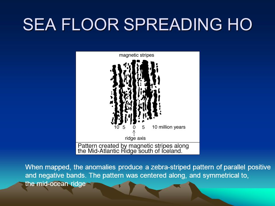 SEA FLOOR SPREADING HO When mapped, the anomalies produce a zebra-striped pattern of parallel positive and negative bands.
