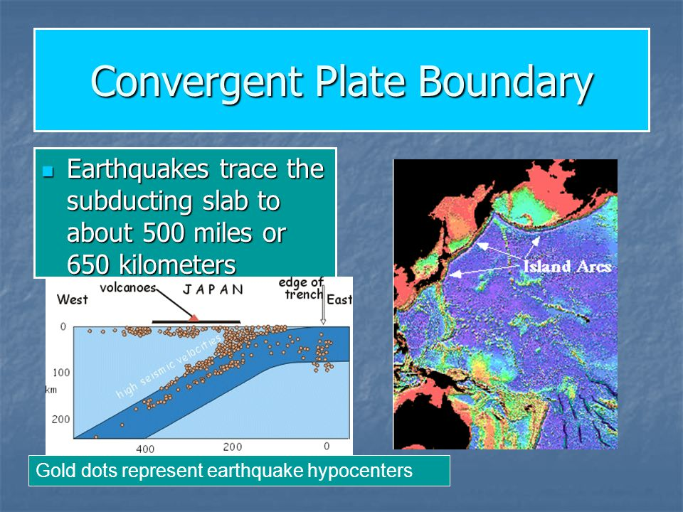 Convergent Plate Boundary Earthquakes trace the subducting slab to about 500 miles or 650 kilometers Earthquakes trace the subducting slab to about 50