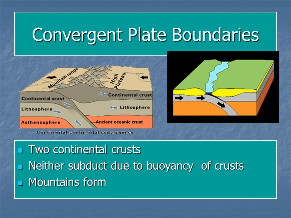 Convergent Plate Boundaries Two continental crusts Two continental crusts Neither subduct due to buoyancy of crusts Neither subduct due to buoyancy of