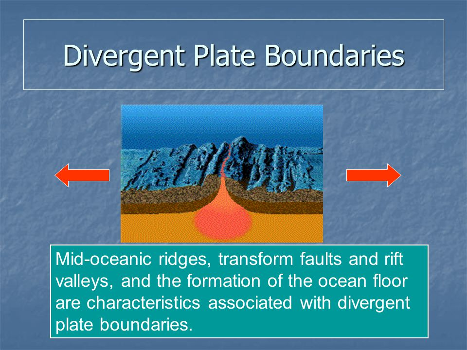 Divergent Plate Boundaries Mid-oceanic ridges, transform faults and rift valleys, and the formation of the ocean floor are characteristics associated