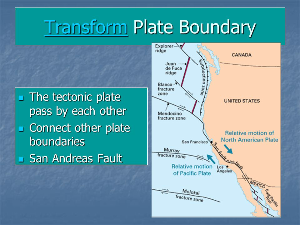 TransformTransform Plate Boundary Transform The tectonic plate pass by each other The tectonic plate pass by each other Connect other plate boundaries