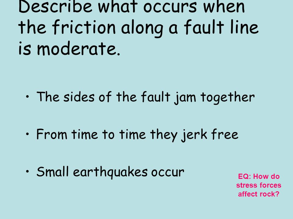 Describe what occurs when the friction along a fault line is low. The rocks on both sides of the fault slide by each other without much sticking EQ: H