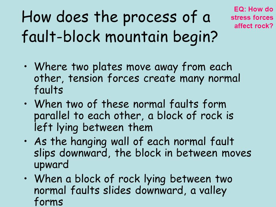 Fault-Block Mountain A mountain that forms where a normal fault uplifts a block of rock EQ: How do stress forces affect rock?